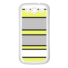 Yellow and gray lines Samsung Galaxy S3 Back Case (White)