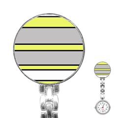 Yellow and gray lines Stainless Steel Nurses Watch