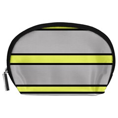 Yellow and gray lines Accessory Pouches (Large)