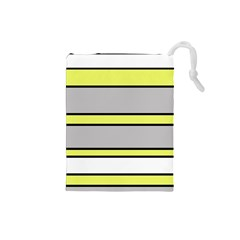 Yellow and gray lines Drawstring Pouches (Small)