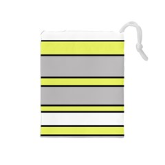 Yellow and gray lines Drawstring Pouches (Medium)