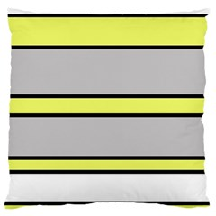 Yellow and gray lines Large Flano Cushion Case (Two Sides)
