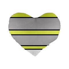Yellow and gray lines Standard 16  Premium Flano Heart Shape Cushions