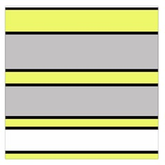 Yellow and gray lines Large Satin Scarf (Square)