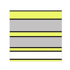 Yellow and gray lines Small Satin Scarf (Square)