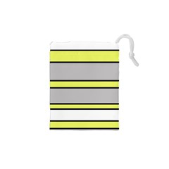 Yellow and gray lines Drawstring Pouches (XS)