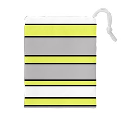Yellow and gray lines Drawstring Pouches (Extra Large)