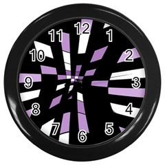Purple abstraction Wall Clocks (Black)