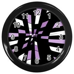 Purple abstraction Wall Clocks (Black)