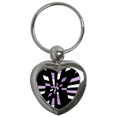 Purple abstraction Key Chains (Heart)