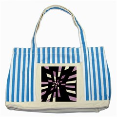 Purple abstraction Striped Blue Tote Bag