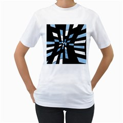 Blue abstraction Women s T-Shirt (White) (Two Sided)