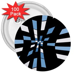 Blue abstraction 3  Buttons (100 pack)