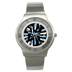 Blue abstraction Stainless Steel Watch