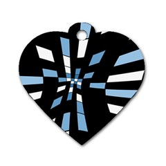 Blue abstraction Dog Tag Heart (Two Sides)