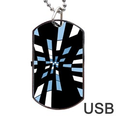 Blue abstraction Dog Tag USB Flash (One Side)