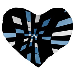 Blue abstraction Large 19  Premium Flano Heart Shape Cushions