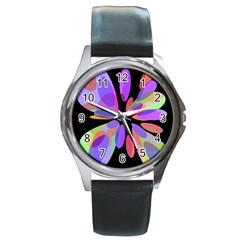 Colorful abstract flower Round Metal Watch