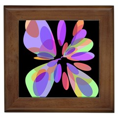 Colorful abstract flower Framed Tiles