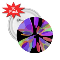 Colorful abstract flower 2.25  Buttons (10 pack)