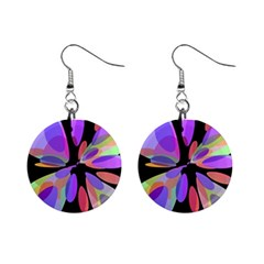 Colorful abstract flower Mini Button Earrings