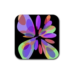 Colorful abstract flower Rubber Square Coaster (4 pack)