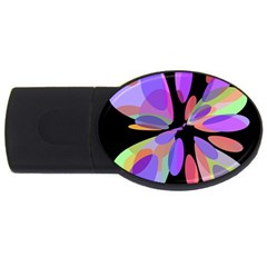 Colorful abstract flower USB Flash Drive Oval (1 GB)