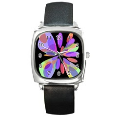 Colorful abstract flower Square Metal Watch