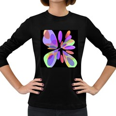 Colorful abstract flower Women s Long Sleeve Dark T-Shirts