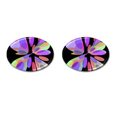 Colorful abstract flower Cufflinks (Oval)