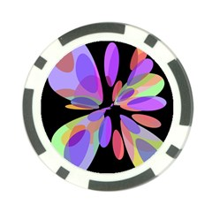 Colorful Abstract Flower Poker Chip Card Guards