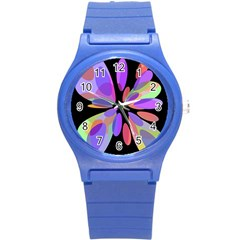 Colorful abstract flower Round Plastic Sport Watch (S)