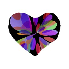 Colorful abstract flower Standard 16  Premium Heart Shape Cushions