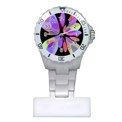 Colorful abstract flower Plastic Nurses Watch