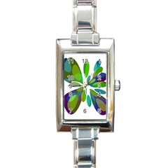 Green abstract flower Rectangle Italian Charm Watch