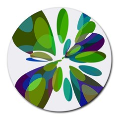 Green abstract flower Round Mousepads