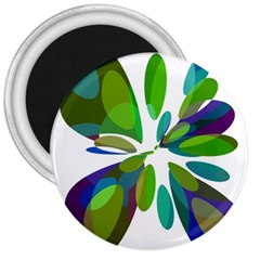 Green abstract flower 3  Magnets