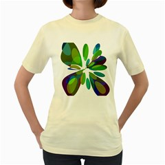 Green abstract flower Women s Yellow T-Shirt