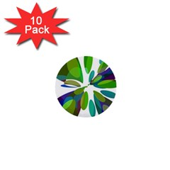 Green abstract flower 1  Mini Buttons (10 pack)