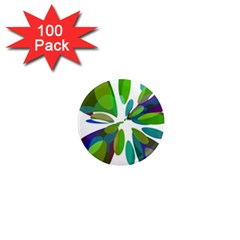 Green abstract flower 1  Mini Magnets (100 pack)