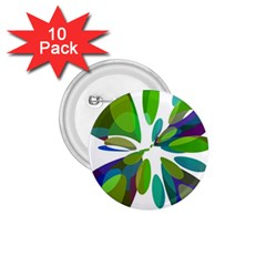 Green abstract flower 1.75  Buttons (10 pack)