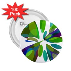 Green abstract flower 2.25  Buttons (100 pack)