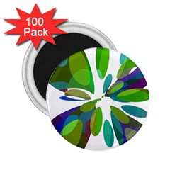 Green abstract flower 2.25  Magnets (100 pack)