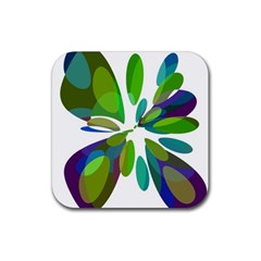 Green abstract flower Rubber Square Coaster (4 pack)