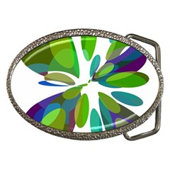 Green abstract flower Belt Buckles