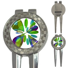 Green abstract flower 3-in-1 Golf Divots