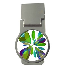 Green abstract flower Money Clips (Round)
