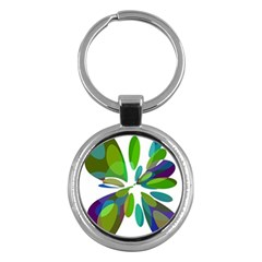 Green abstract flower Key Chains (Round)