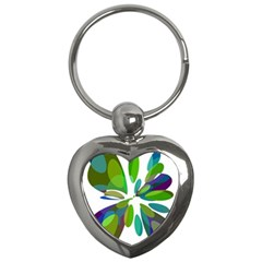 Green abstract flower Key Chains (Heart)