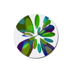 Green abstract flower Rubber Coaster (Round)